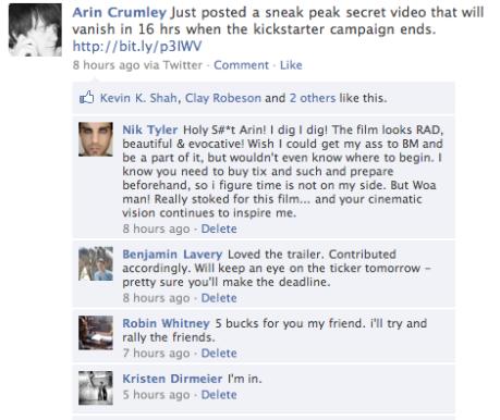 facebook kickstarter promotion